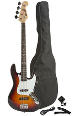 Fever 4-String Electric Jazz Bass Style with Gig Bag, Clip on Tuner, Cable and Strap, Color Sunburst