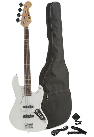Fever 4-String Electric Jazz Bass Style with Gig Bag, Clip on Tuner, Cable and Strap, Color White