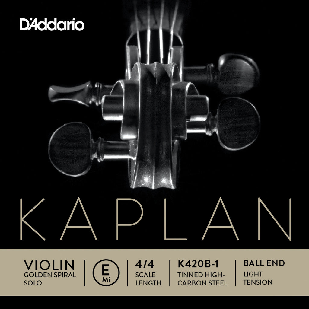 D'Addario Kaplan Golden Spiral Solo Violin Single E String, 4/4 Scale, Light Tension