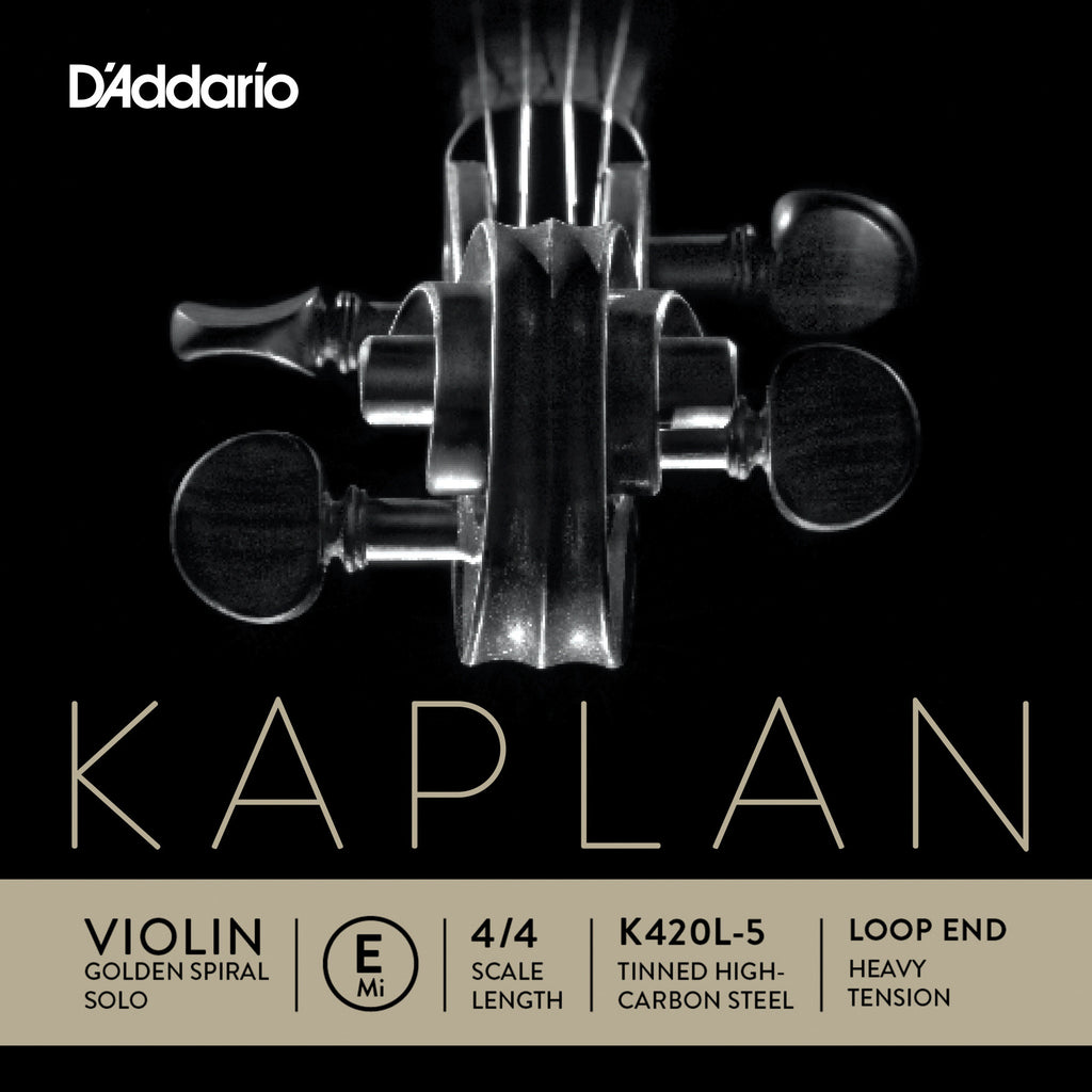 D'Addario Kaplan Golden Spiral Solo Loop End Violin Single E String, 4/4 Scale, Heavy Tension