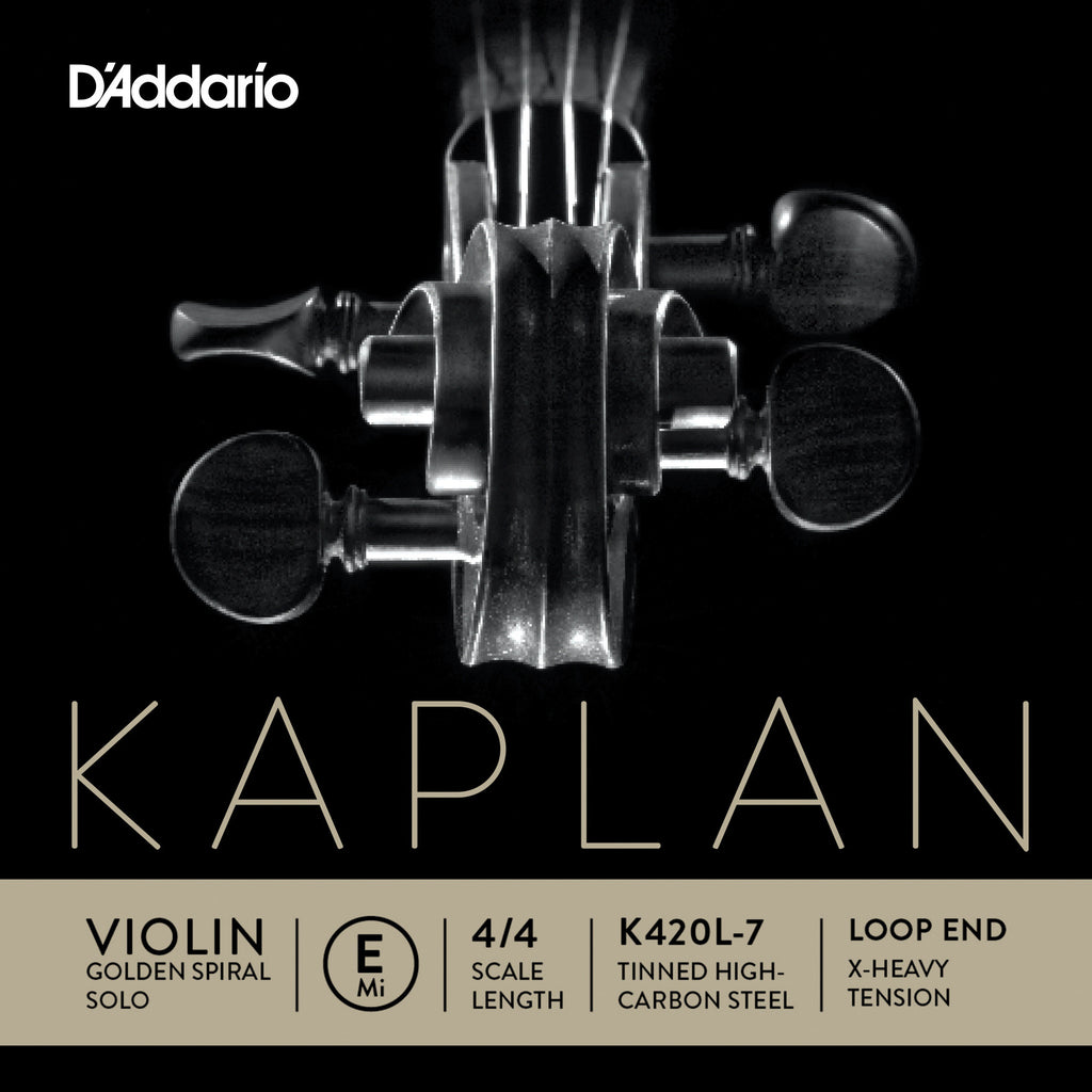 D'Addario Kaplan Loop End Violin Single E String, 4/4 Scale, Extra-Heavy Tension