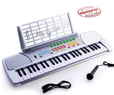 D'Luca Children 49 Keys Electronic Piano Music Keyboard Silver