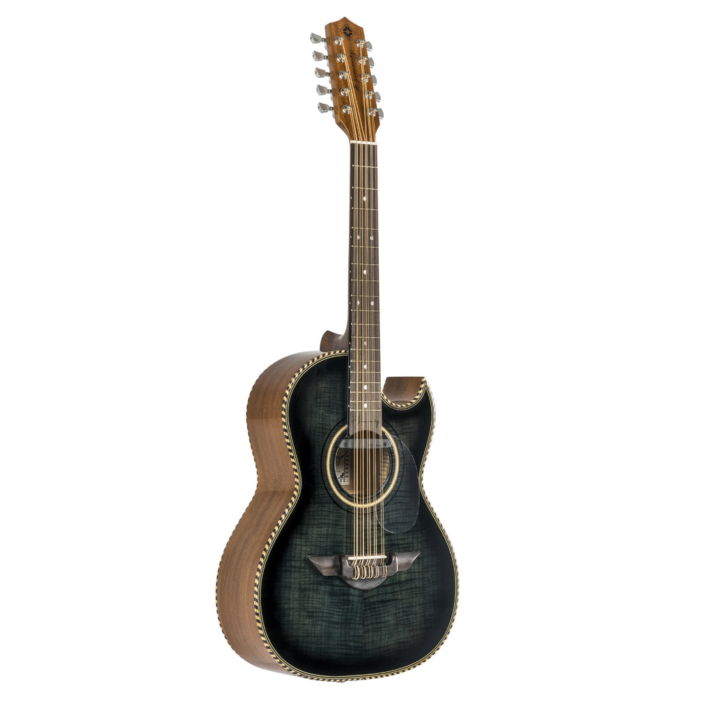 H. Jimenez El Estandar Acoustic / Electric Bajo Quinto Black Flame Maple
