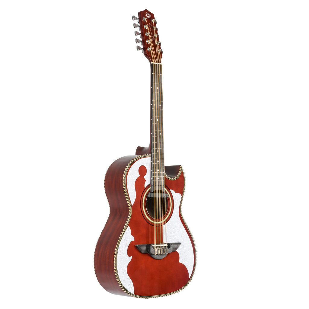 H. Jimenez El Patron Acoustic / Electric Bajo Quinto Transparent Red
