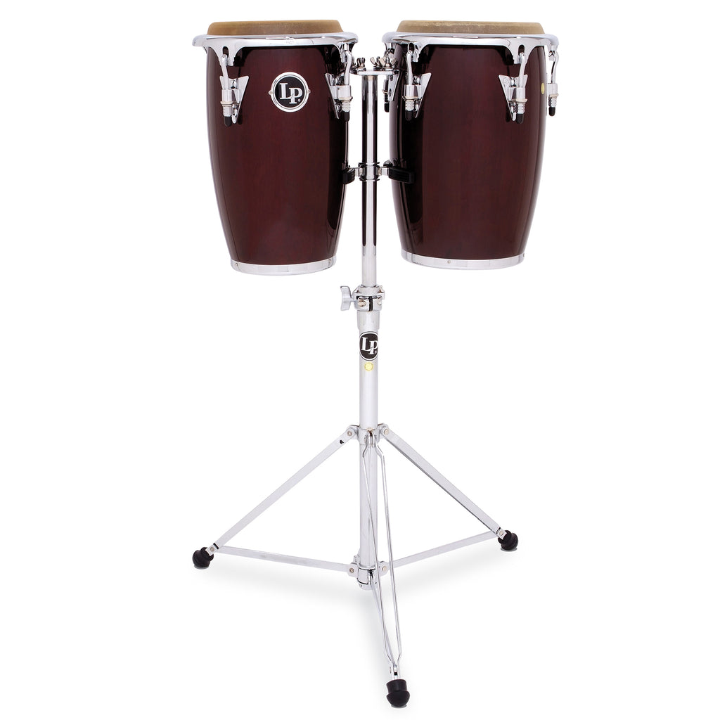 "Latin Percussion LP Jr 8""/9"" Junior Conga Set with Double Stand Dark Wood"