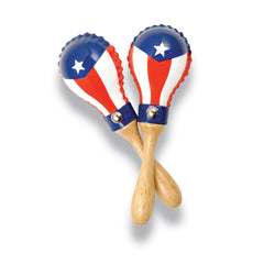Latin Percussion LP Mini Rawhide Maracas Puerto Rican Flag, 1 Pair