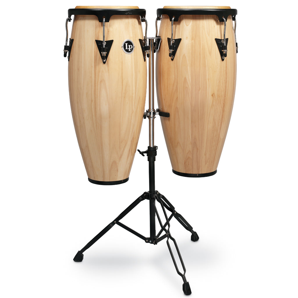 Latin Percussion LP Aspire Wood Conga Set 10/11 in with Double Stand Natural Wood