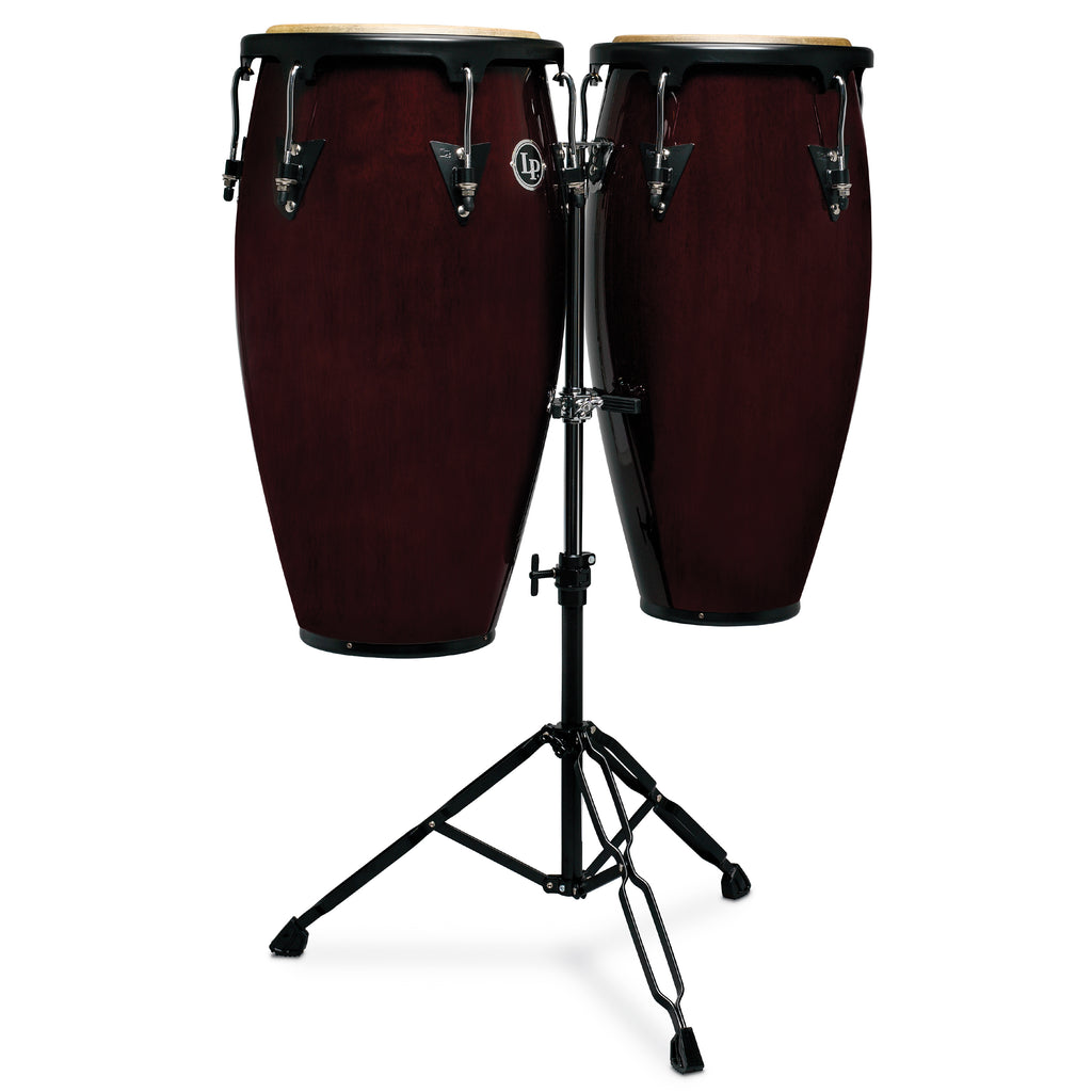 Latin Percussion LP Aspire Wood Conga Set 10/11 in with Double Stand Dark Wood