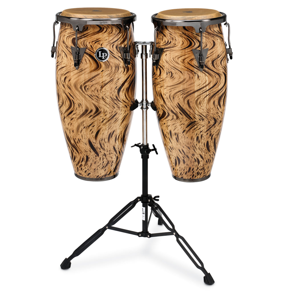 Latin Percussion LP Aspire Wood Conga Set 10/11 in with Double Stand Habana Café