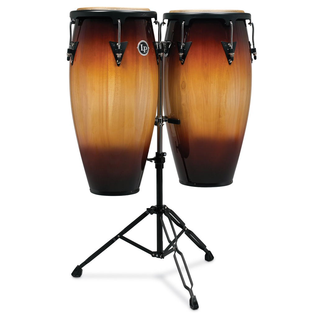 Latin Percussion LP Aspire Wood Conga Set 10/11 in with Double Stand Vintage Sunburst