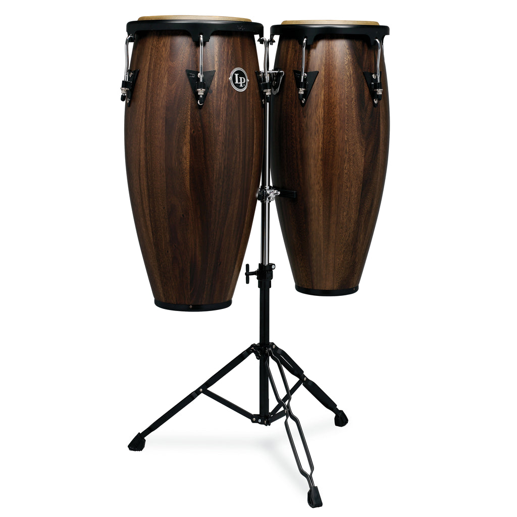 Latin Percussion LP Aspire Wood Conga Set 11/12 in with Double Stand Siam Walnut