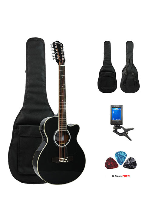 fever 12 string acoustic electric guitar with bag tuner and picks bl. Black Bedroom Furniture Sets. Home Design Ideas