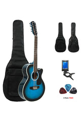 Fever 12 String Acoustic Electric Guitar with Bag, Tuner and Picks, Blueburst