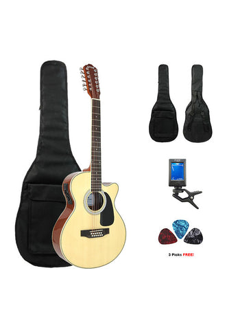 Fever 12 String Acoustic Electric Guitar with Bag, Tuner and Picks, Natural