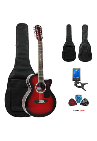 Fever 12 String Acoustic Electric Guitar with Bag, Tuner and Picks, Redburst
