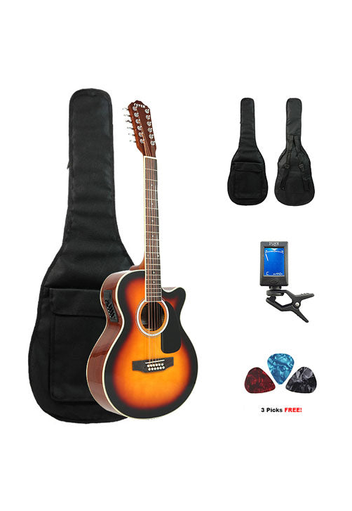 Fever 12 String Acoustic Electric Guitar with Bag, Tuner and Picks, Sunburst