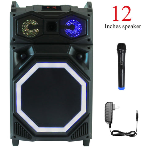 YLT 12 Inch Karaoke Rechargeable Speaker, Mic, Bluetooth, AUX/USB, LEDs