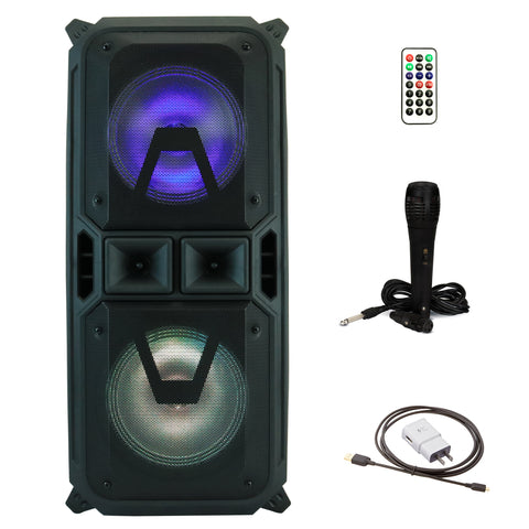 YLT Dual 8 Inch Karaoke Rechargeable Speaker, Mic, Bluetooth, AUX/USB/TF, LEDs