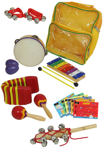 D'Luca Percussion 7 Pack with Glockenspiel, Tambourine, Maracas, Egg Shakers, Wrist Bells & Jingle Stick