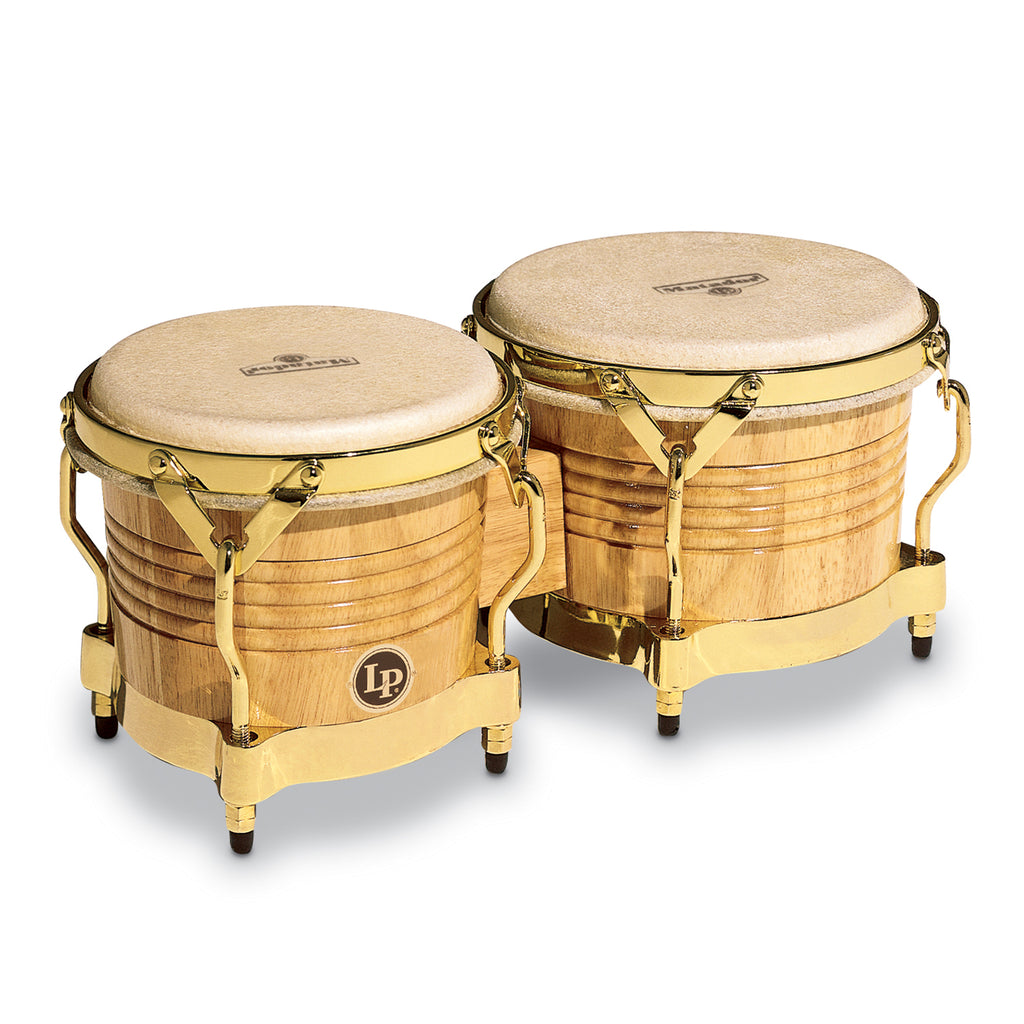 Latin Percussion LP Matador Wood Bongos Natural Gold Hardware