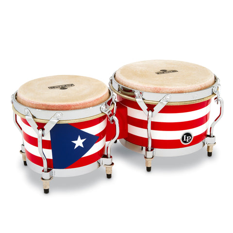 Latin Percussion LP Matador Wood Bongos Puerto Rico Flag