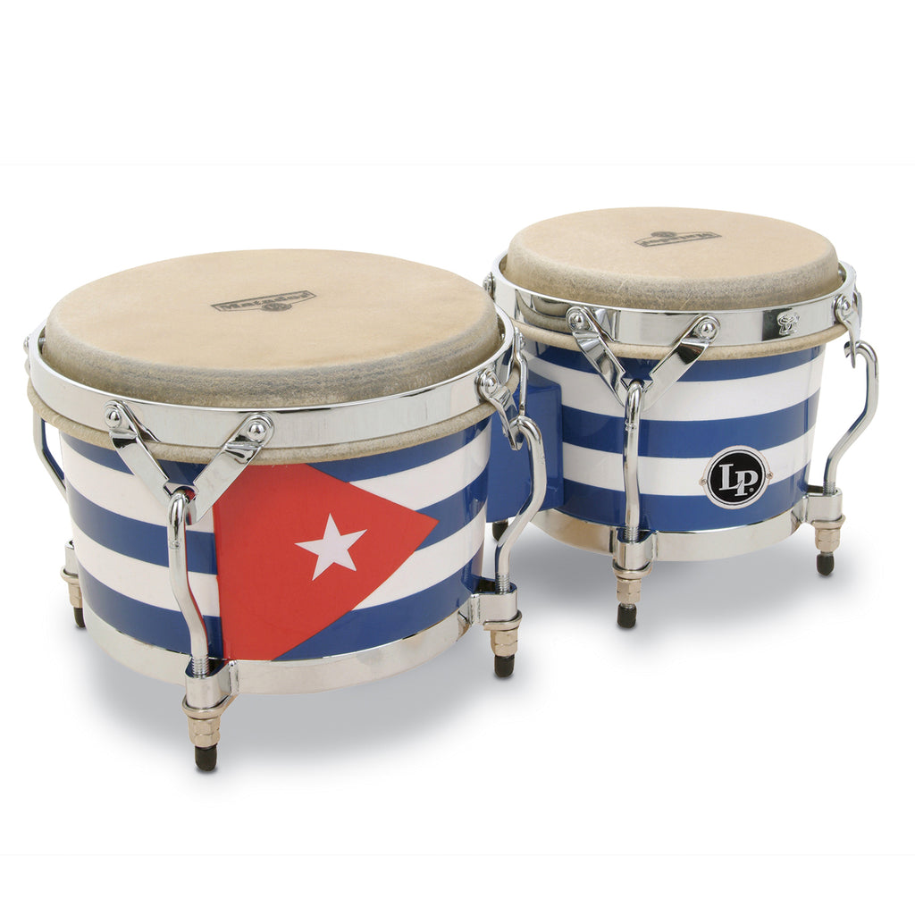 Latin Percussion LP Matador Wood Bongos Cuba Flag