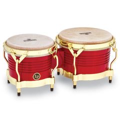Latin Percussion LP Matador Wood Bongos Red Gold Hardware
