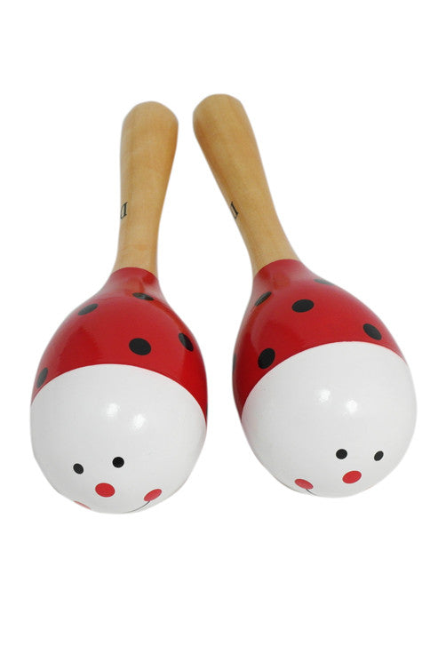 D'Luca Kids 7.5 Inches Ladybug Wood Maracas