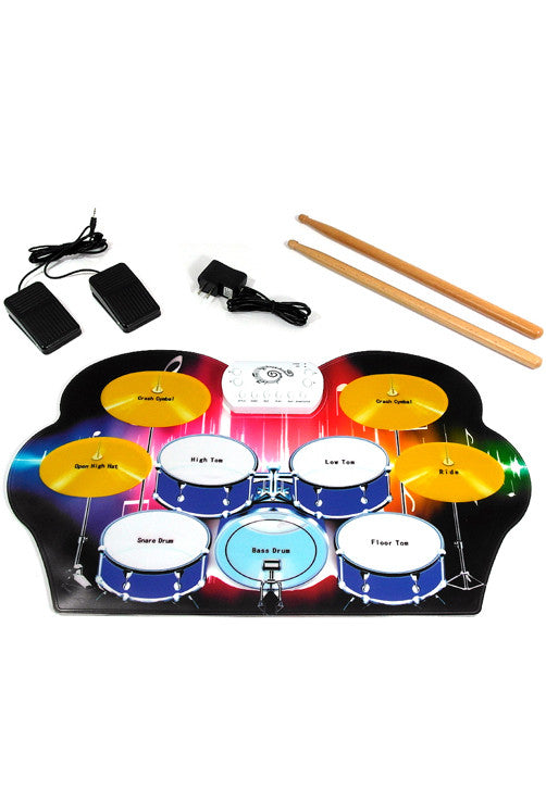 D'Luca Roll Up Portable 9 Pad Electric Drum Set Kit