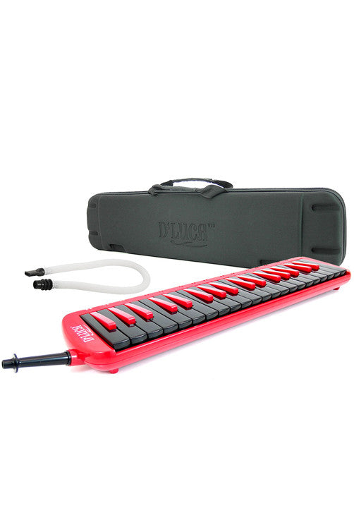 D'Luca Red 37 Key Jungle Melodica with EVA Carrying Case