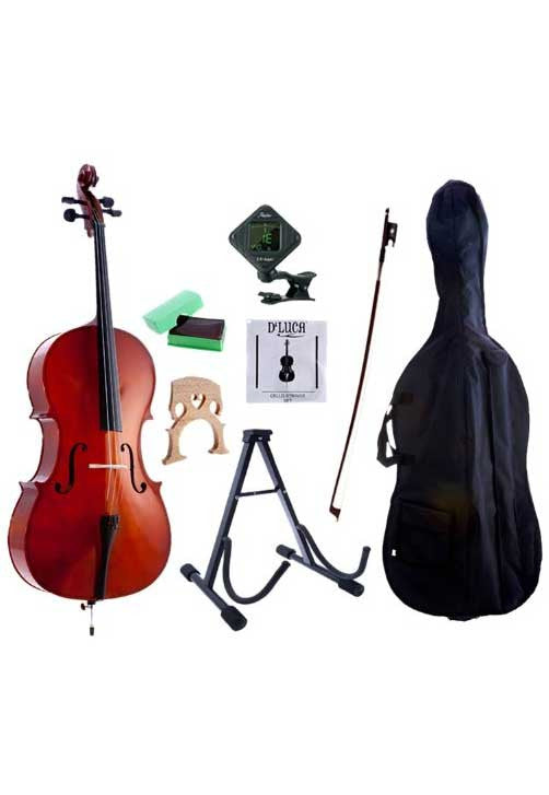 D'Luca Meister Student Cello 4/4 Package with Free Stand, Bag, Strings, Chromatic Tuner, Rosin and Bow