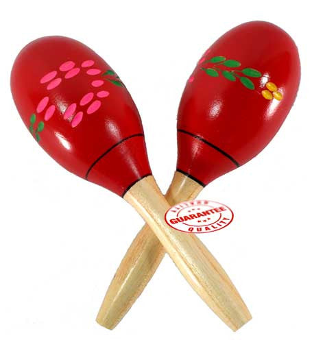 D'Luca Wood Maracas Red 8 Inches