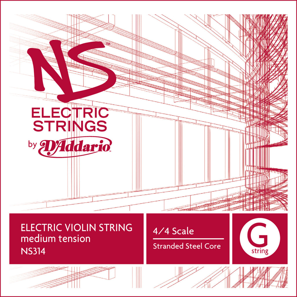D'Addario NS Electric Violin Single G String, 4/4 Scale, Medium Tension