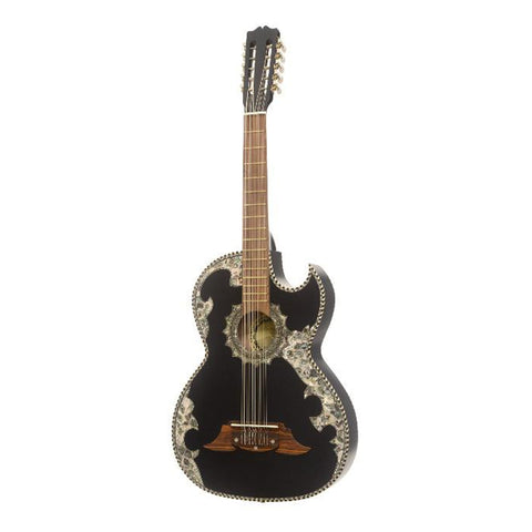 Paracho Elite Novella Deluxe Ebony 10 String Bajo Quinto Thin Body, Black