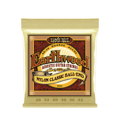 Ernie Ball Earthwood Folk Nylon, Ball End, 80/20 Acoustic Guitar Strings - 28-42