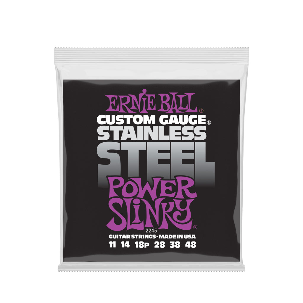 Ernie Ball Power Slinky Stainless Steel Wound Electric Guitar Strings - 11-48