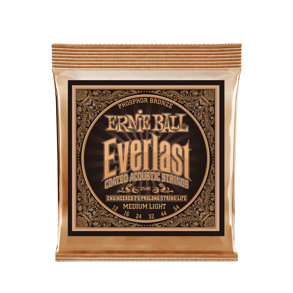 Ernie Ball Everlast Medium Light Phosphor Bronze Acoustic Guitar Strings 12-54