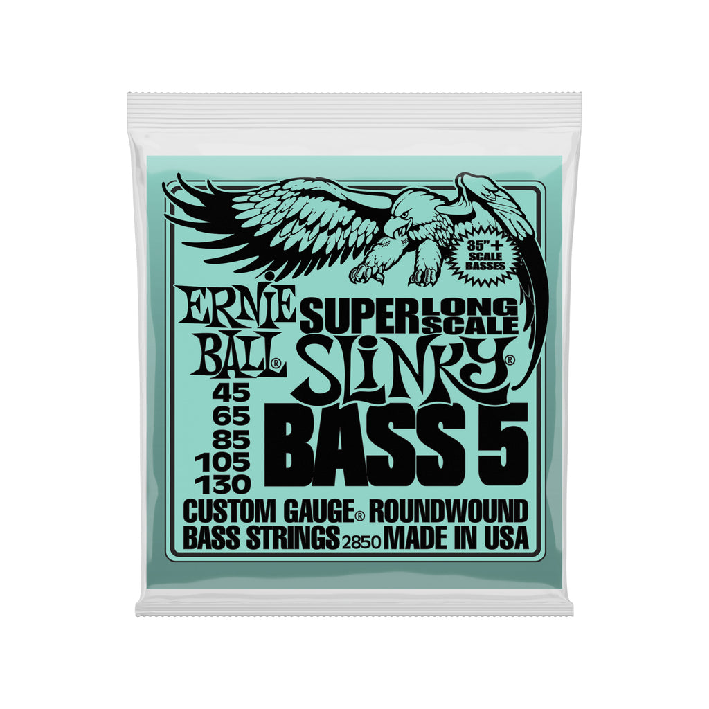 Ernie Ball Bass 5 Slinky Super Long Scale Electric Bass Strings - 45-130 Gauge