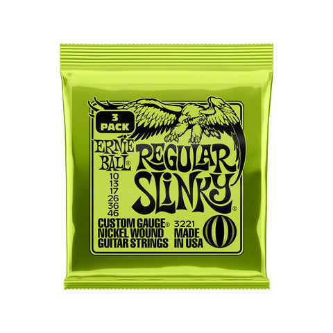Ernie Ball Regular Slinky Nickel Wound Electric Guitar Strings 3 Pack - 10-46