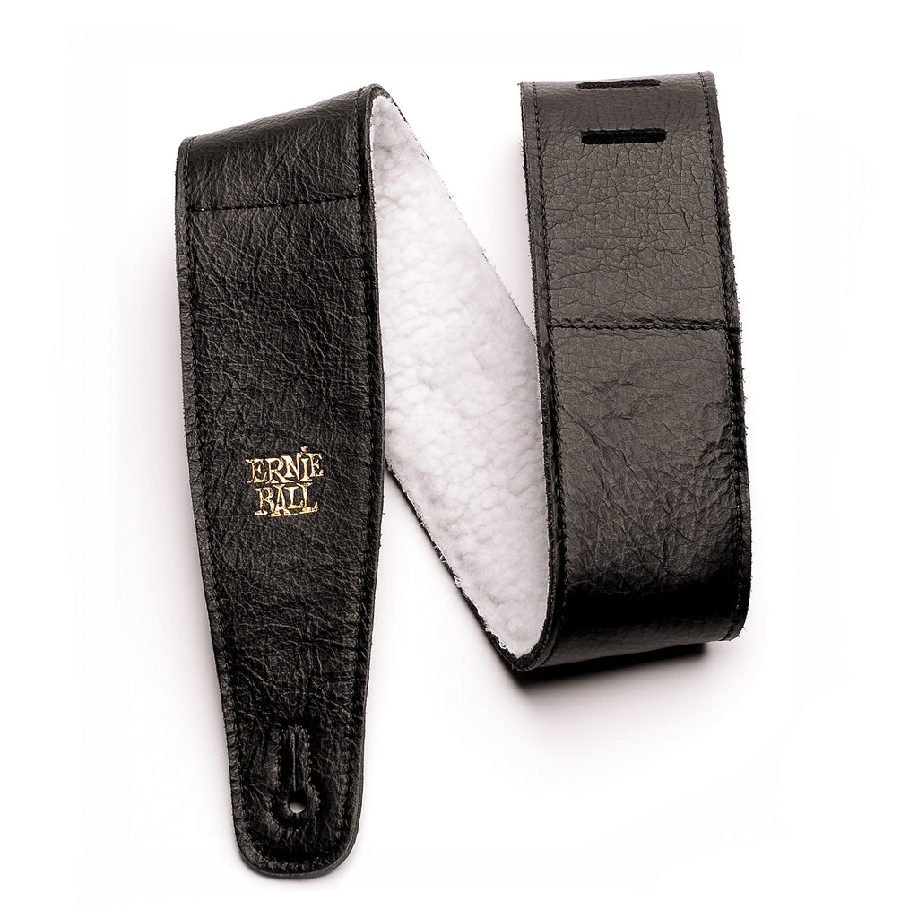 "Ernie Ball 2.5"" Adjustable Italian Leather Guitar Strap with Fur Padding Black"