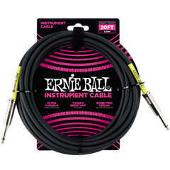 Ernie Ball 20' Straight / Straight Instrument Cable - Black