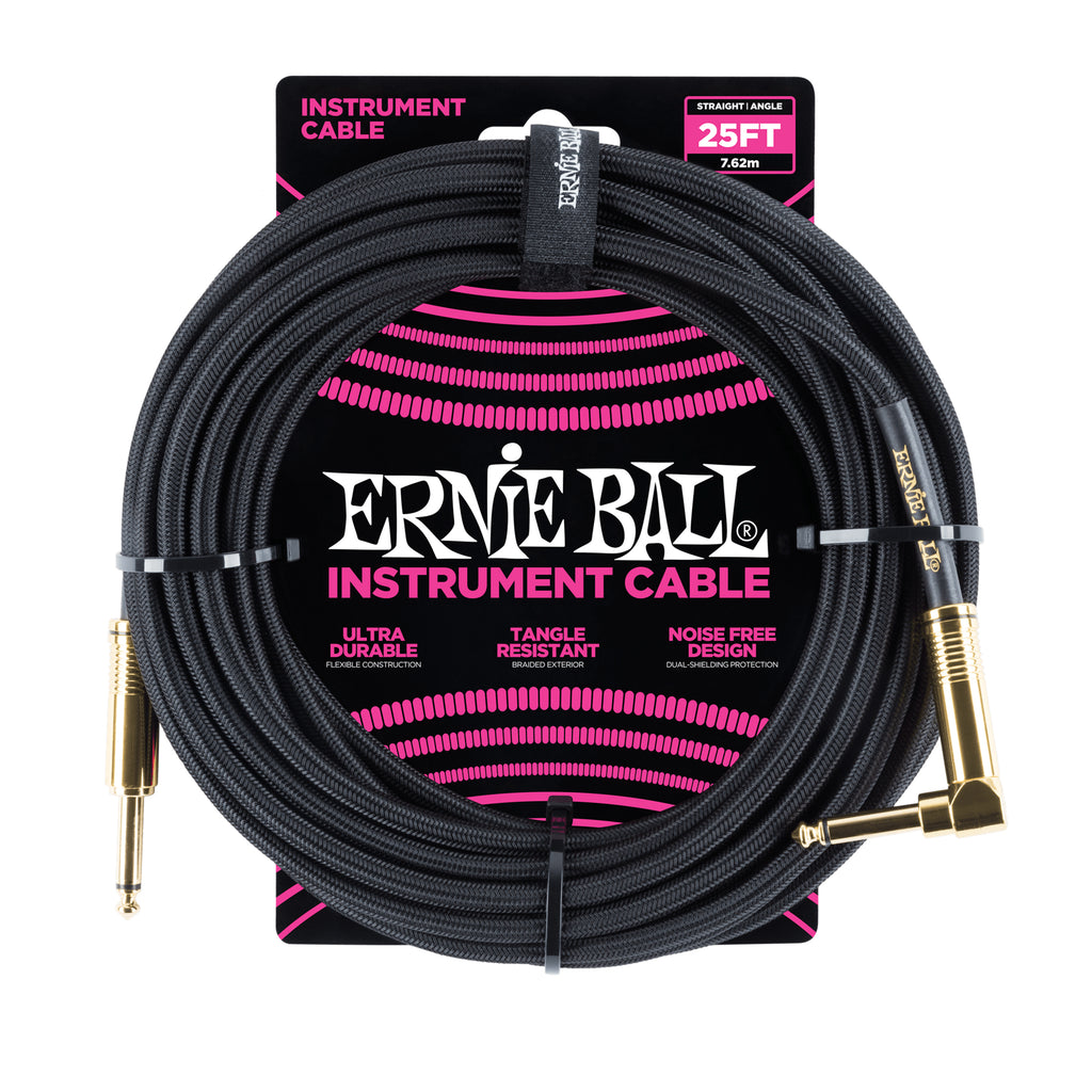 Ernie Ball 25' Braided Straight / Angle Instrument Cable - Black