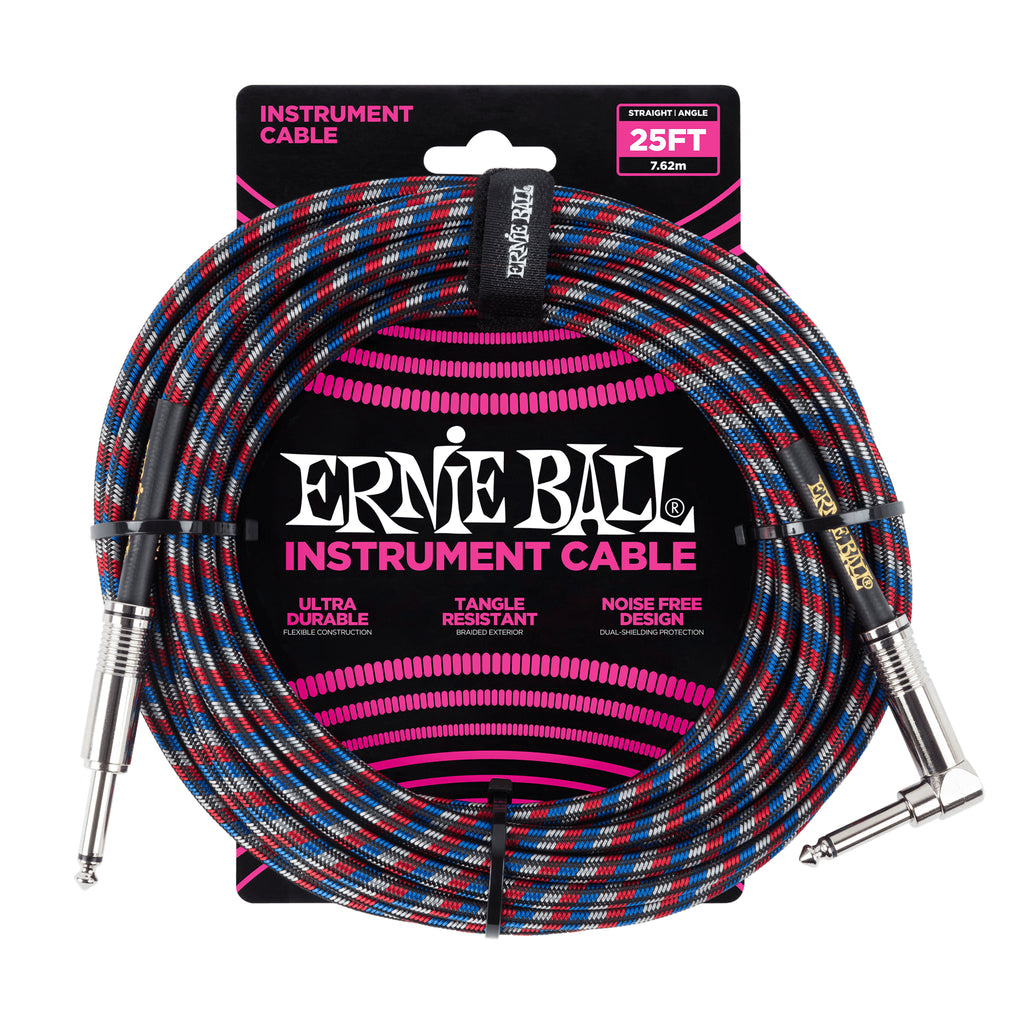 Ernie Ball 25' Braided Straight / Angle Instrument Cable Black/Red/Blue/White