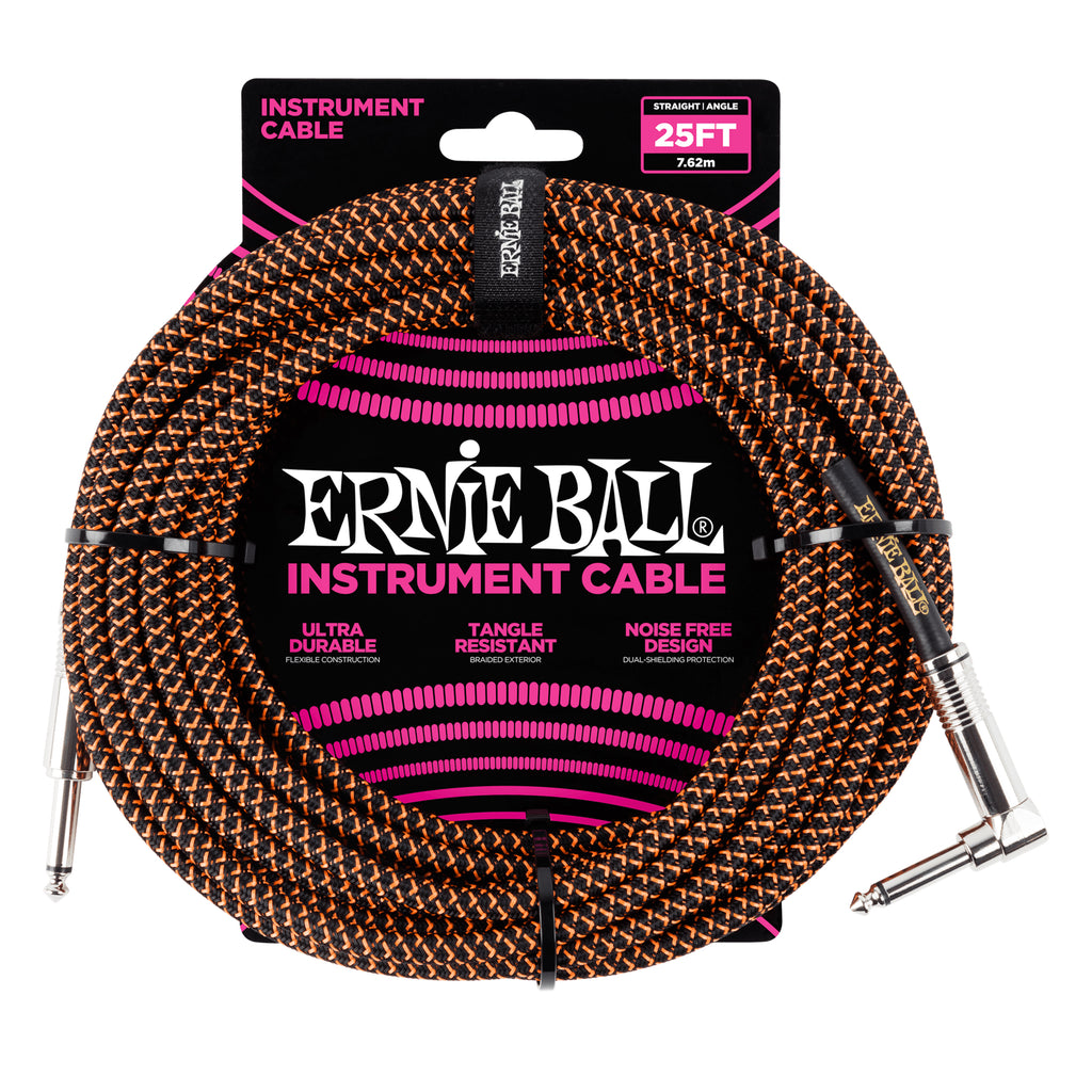 Ernie Ball 25' Braided Straight / Angle Instrument Cable - Black / Orange