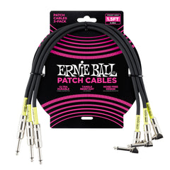 Ernie Ball 1.5' Straight / Angle Patch Cable 3-Pack - Black