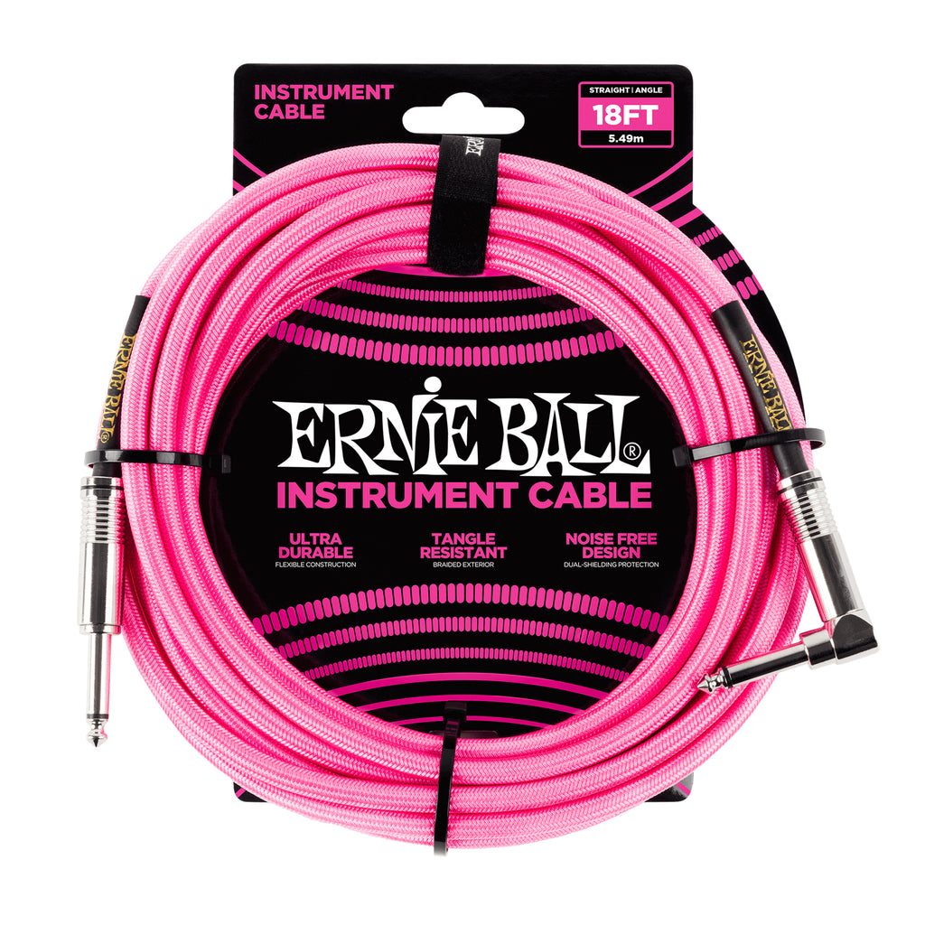 Ernie Ball 18' Braided Straight / Angle Instrument Cable - Neon Pink