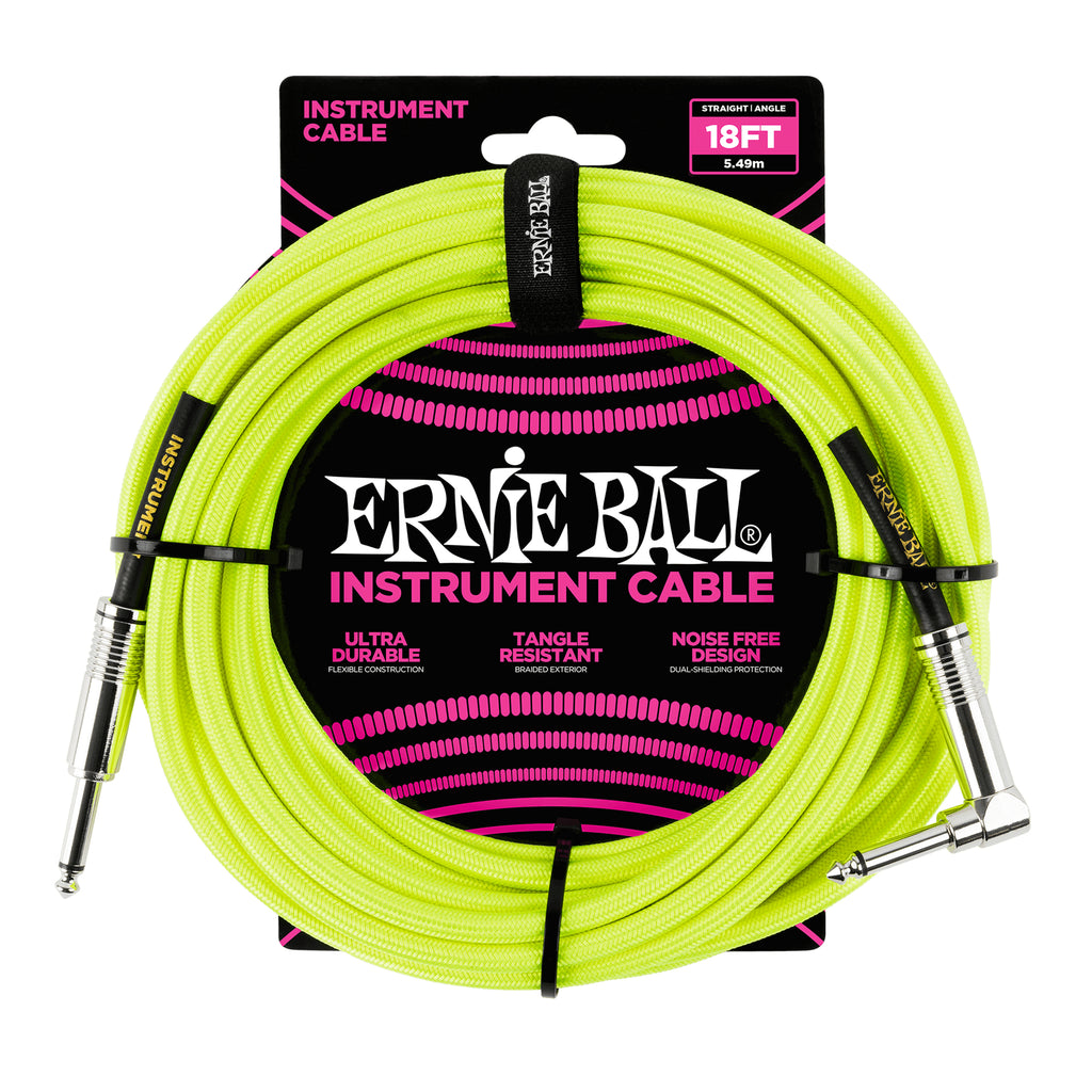Ernie Ball 18' Braided Straight / Angle Instrument Cable Neon - Yellow
