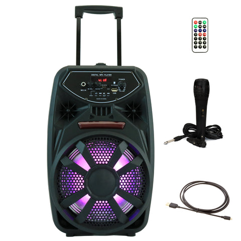 YLT 8 Inch Karaoke Rechargeable Party Speaker, Mic, Bluethooth, AUX/USB, LEDs