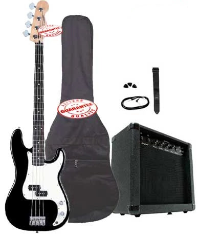Electric Bass Guitar Pack with 20 Watts Amplifier, Gig Bag, Strap, and Cable, Black