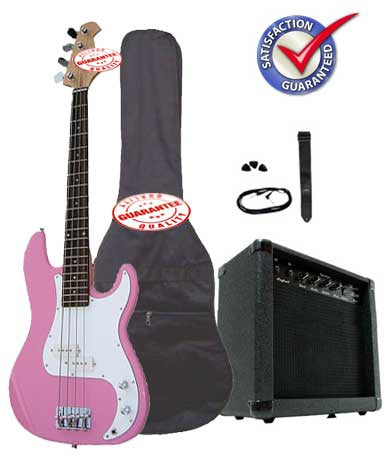 Electric Bass Guitar Pack with 20 Watts Amplifier, Gig Bag, Strap, and Cable, Pink